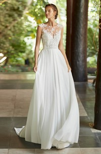 Ethereal Cap Sleeve And Court Train Lace Chiffon Wedding Dress With Deep V-back