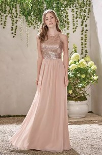 A-line Halter V-neck Sleeveless Floor-length Chiffon Sequins Bridesmaid Dress with Ruching
