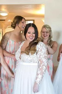 Plus Size Lace Long Sleeve Sexy Sheer V Neck Illusion Back Tulle Bridal Gown