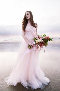 Subtle Pink Strapless Sweetheart A-line Tulle Beach Wedding Dress
