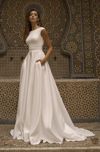Bateau Neckline With Cap Sleeve Elegant Satin Wedding Dress With V-back And Sash Details