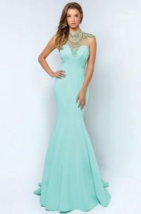 Mermaid Maxi High Neck Sleeveless Jersey Keyhole Dress With Beading