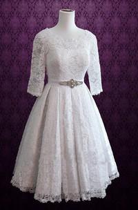 Retro Tea Length Lace Wedding Christina Dress