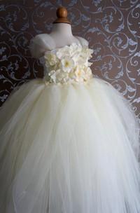 Flower Top Cap Sleeve Pleated Tulle Ball Gown Flower Girl Dress