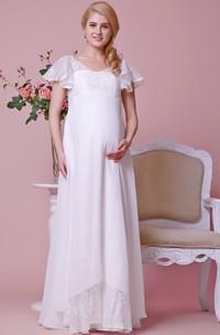 V-neck V-back Cap-sleeved Empire Chiffon Maternity Wedding Dress With Lace Bodice