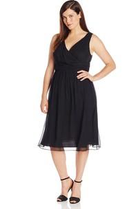 V-neckline Knee-length Chiffon Dress With Basque Waist