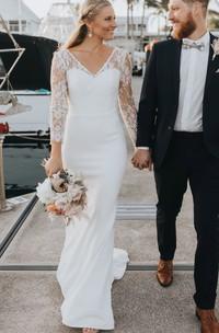 Elegant Lace Satin Sheath V-neck Sweep Train Deep-V Back Wedding Dress