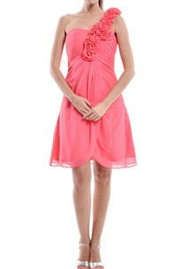 A-line Short One-shoulder Chiffon Dress With Flower