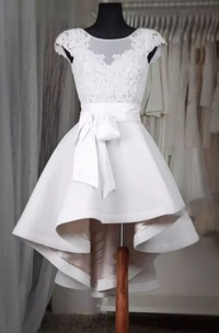 A-line Square Cap Short Sleeve High-low Satin Wedding Dress with Bow and Ruffles