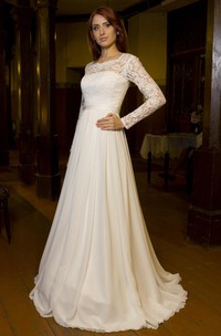 Bateau Neck Long Sleeve Chiffon Wedding Dress With V-Back Cutout