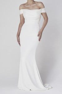 Off-the-shoulder Elegant Sheath Satin Wedding Dress With Tiers And V-back