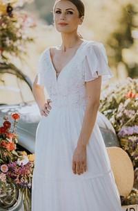 A Line V-neck Lace Floor-length Short Sleeve Wedding Dress with Ruffles