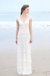 Plunged Sheath Cap-Sleeve Tired Boho Style Wedding Dress And Deep-V Back