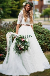 Sexy Two Piece Lace Tulle Bateau Half Sleeve Wedding Dress with Ruffles