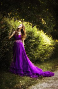 Glamorous One Shoulder Purple Tulle Prom Dress 2018 New Fashion Cloud Wedding Gown