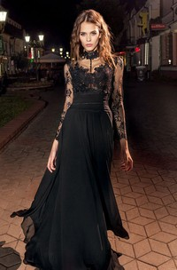A-Line High Neck Long Sleeve Lace Chiffon Illusion Dress With Appliques