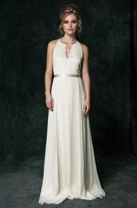 Sexy Chiffon Halter Sleeveless Bridal Gown with Sash