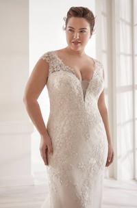 Lace Plunging V-neck Elegant Detachable Plus Size Cap Sleeve Bridal Gown