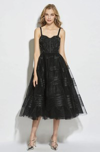 Cute Tea-length Straps Vintage A-line Boned Dress With Sweetheart Neckline And Beading