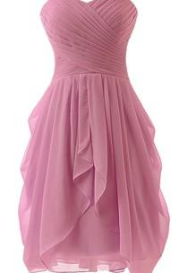 Sweetheart A-line Ruffled Short Chiffon Dress