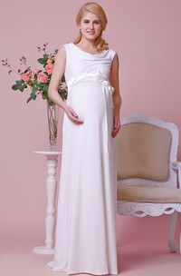 Draped Scoop Neckline A-line Chiffon Maternity Wedding Dress With Cap Sleeves