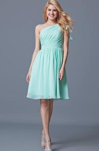 One Shoulder Knee Length Chiffon Bridesmaid Dress