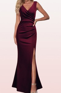 Sheath V-neck Satin Evening Dress With Ruching and Split Front