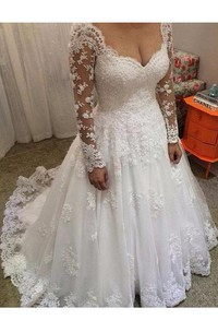 Ball Gown V-neck Long Sleeves Lace Court Train Wedding Dresses