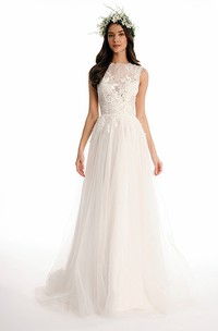 High Neck Long Appliqued Tulle Wedding Dress With Sweep Train And Illusion