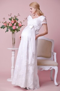 Allover Lace V-neck V-back Cap Sleeved Maternity Wedding Dress With Satin Bow