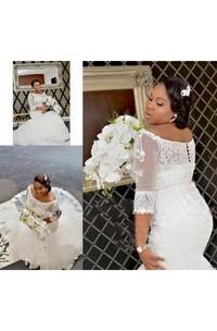 Elegant Half Long Sleeve Lace Appliques Off Shoulder Plus Size Wedding Dresses