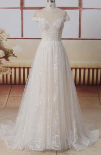 Illusion Back Tulle Jewel Neck Short Illusion Sleeves A-line Lace Wedding Dress With Pleats