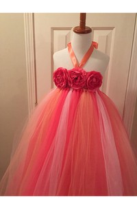 Sleeveless Halter Neck Flower Bust Pleated Tulle Ball Gown With Bow