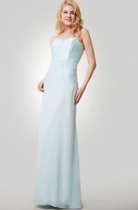 Column Chiffon Floor Length Sweetheart Dress With Lace Bodice