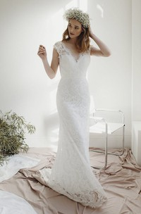 Lace Cap Sleeve Sheath Deep V-neck Bridal Gown With Deep V-neck And Court Train