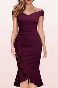 Bodycon Off-the-shoulder Satin Cocktail Dress With Ruffles