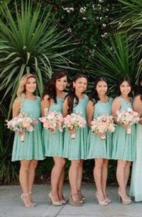 A-line Mini Sleeveless Lace Dress with Deep V-back