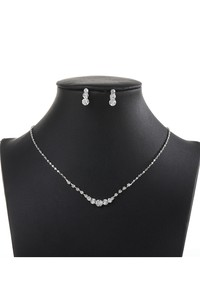 Simple Rhinestone Necklace and Earrings Bridal Jewelry Set