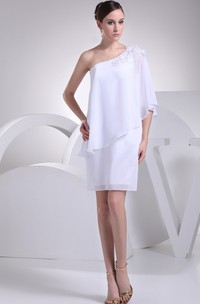 One-Shoulder Chiffon Mini Dress with Flower and Beading