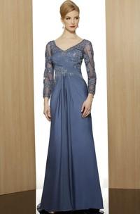 Sheath V-Neck Floor-Length 3-4-Sleeve Appliqued Satin Formal Dress With Beading