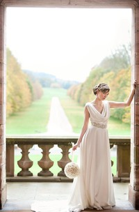 Soft Satin Cowl Neck A-Line Wedding Dress With Beading Waist