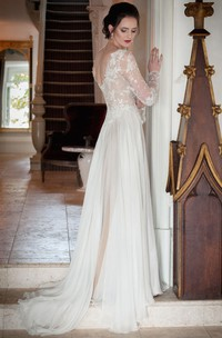 Sheath V-Neck Illusion-Sleeve Chiffon Wedding Dress