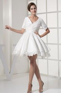 Short-Sleeve V-Neck Criss-Cross Mini Dress with Appliques
