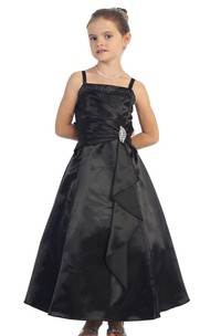 Sleeveless A-line Dress With Pleats and Straps