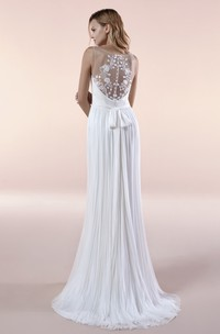 Deep V-neck Chiffon Illusion Sleeveless Gown With Sash And Pleats