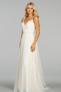 Refined Pleated Bodice Lace Dress With Keyhole Back