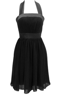 Halter A-line Chiffon Dress With Pleats