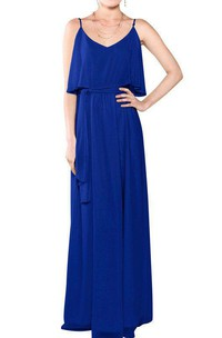 Spagetti Straps Long Chiffon Bridesmaid Dress