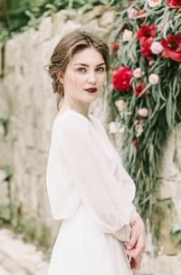 Puffy Long Sleeve Greek Sexy Backless Chiffon Beach Bridal Gown
