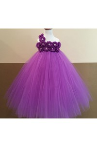 Beaded Flower One Shoulder Pleated Ball Gown With Bow Sash